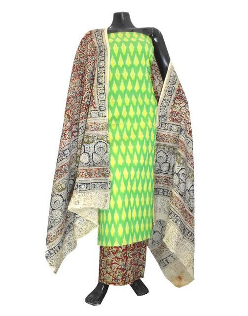 Ikat & Kalamkari Block Print Cotton Suit-Sea Green
