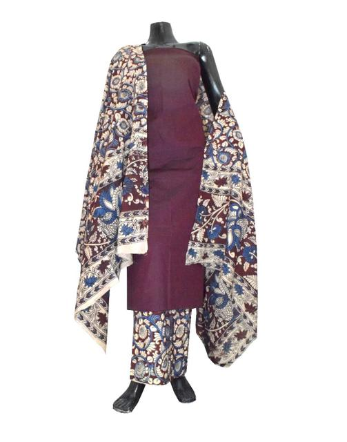 Kalamkari Block Print Cotton Suit-Dark Maroon