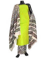 Kalamkari Block Print Cotton Suit-Lime Green