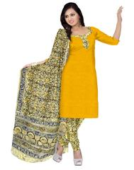 Kalamkari Block Print Cotton Suit-Yellow