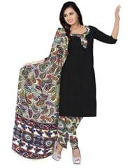 Kalamkari Block Print Cotton Suit-Black 1