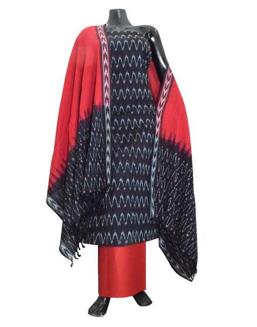 Handloom Cotton Ikat Salwar Suit-Red&Black