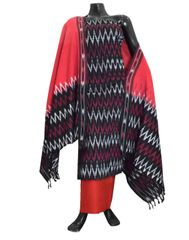 Handloom Cotton Ikat Salwar Suit-Red&Black 1