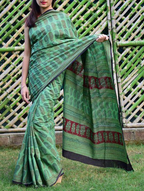 Bagh Print Cotton Saree-Green