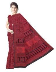 Bagh Print Cotton Saree-Black&Red