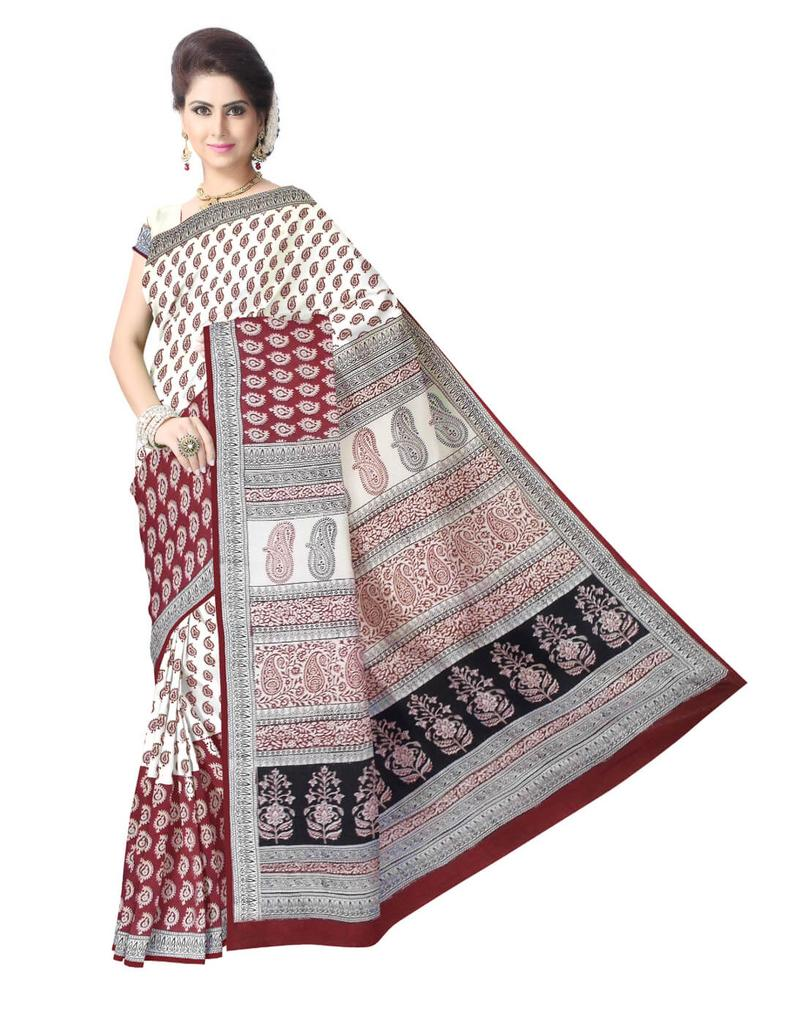 Bagh Print Cotton Saree-Red&White