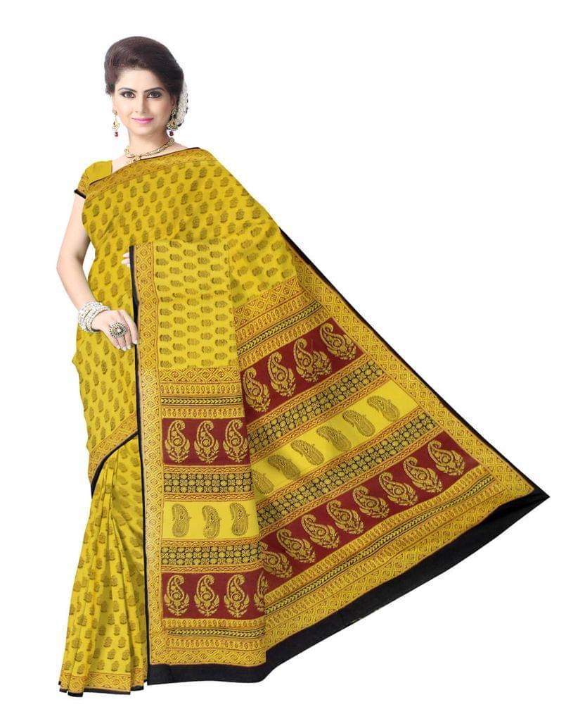 Bagh Print Cotton Saree-Yellow