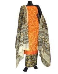 Kalamkari Block Print Suit with Cutwork Cotton Kurta-Rust&Yellow
