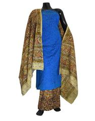 Kalamkari Block Print Suit with Cutwork Cotton Kurta-Blue