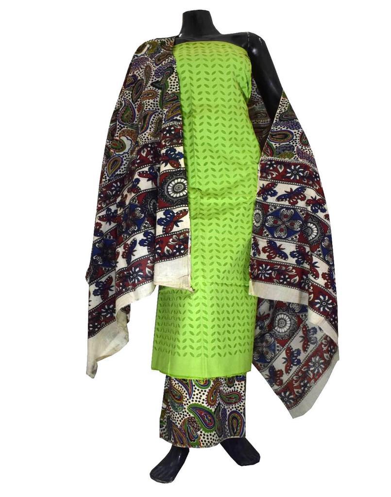 Kalamkari Block Print Suit with Cutwork Cotton Kurta-Green
