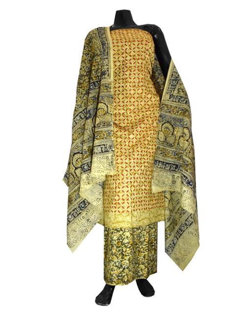 Kalamkari Block Print Suit with Cutwork Cotton Kurta-Multicolor
