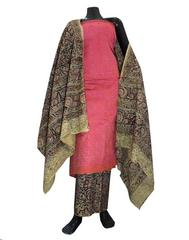 Kalamkari Block Print Suit with Cutwork Cotton Kurta-Rust&Mauve