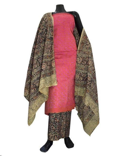 Kalamkari Block Print Suit with Cutwork Cotton Kurta-Rust&Mauve