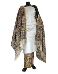 Kalamkari Block Print Suit with Cutwork Cotton Kurta-White
