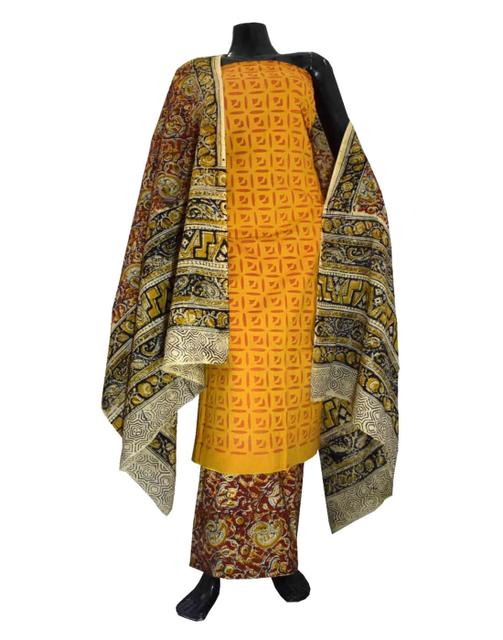 Kalamkari Block Print Suit with Cutwork Cotton Kurta-Orange&Yellow