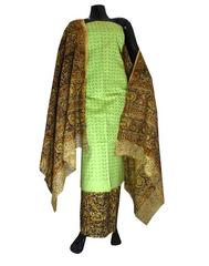 Kalamkari Block Print Suit with Cutwork Cotton Kurta-Light Green