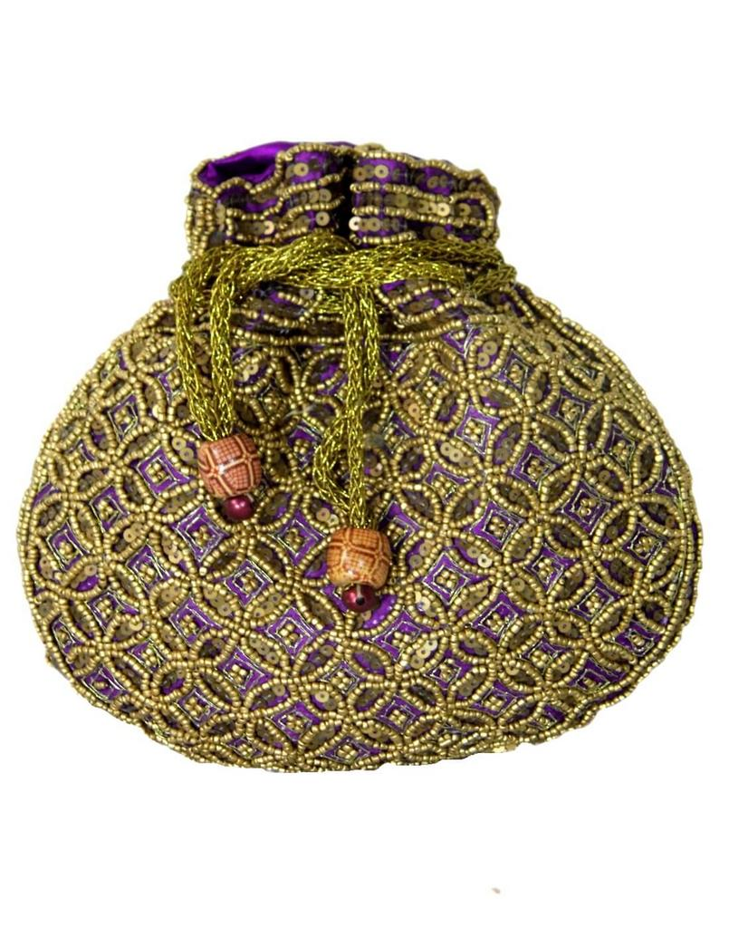 Beaded Potli/Batwa with Drawstring-Purple