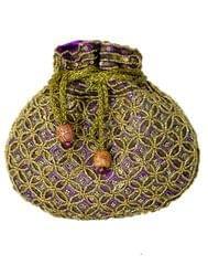 Beaded Potli/Batwa with Drawstring-Purple