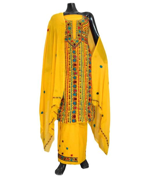 Unstitched Hand Embroidered Cotton Salwar Suit-Yellow