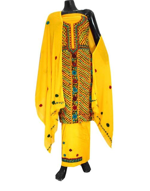 Unstitched Hand Embroidered Cotton Salwar Suit-Yellow 1