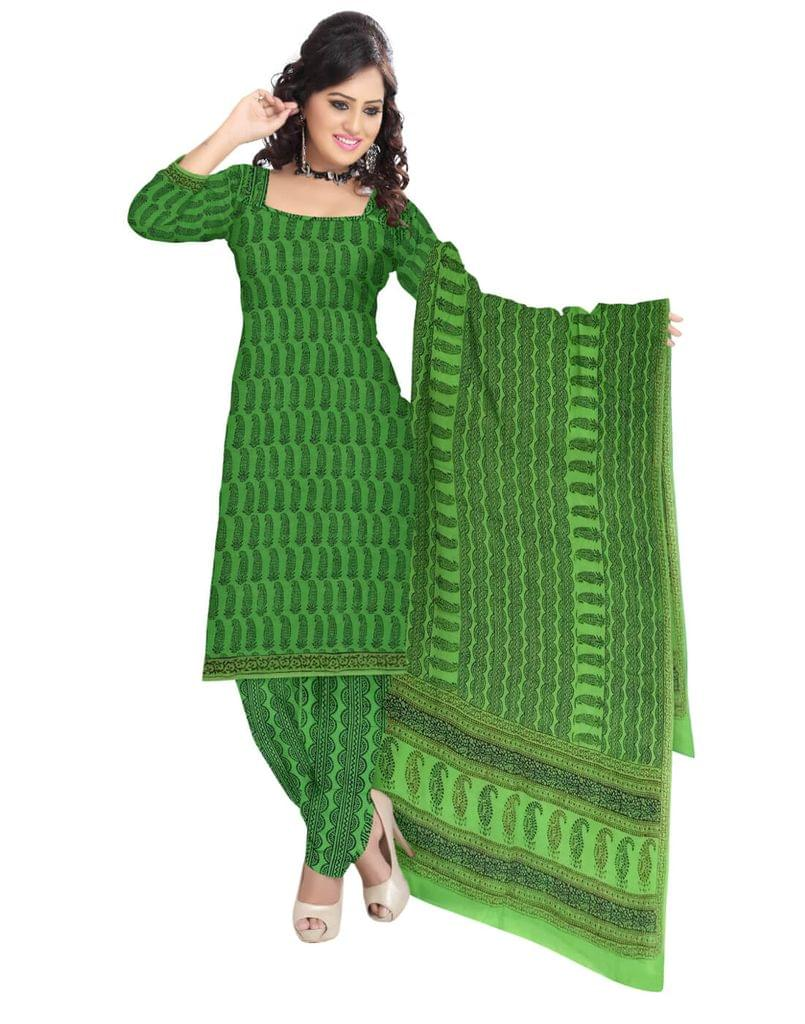 Unstitched Cotton Bagh Print Salwar Suit-Green