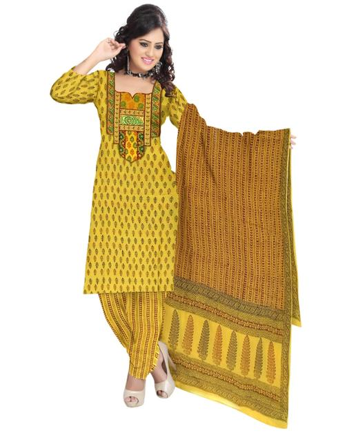 Unstitched Cotton Bagh Print Salwar Suit-Yellow 1