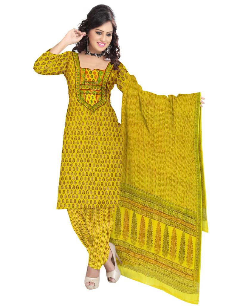 Unstitched Cotton Bagh Print Salwar Suit-Yellow