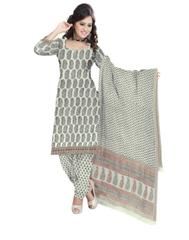 Unstitched Cotton Bagh Print Salwar Suit-Cream