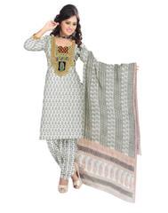 Unstitched Cotton Bagh Print Salwar Suit-White