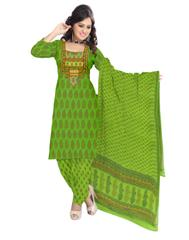 Unstitched Cotton Bagh Print Salwar Suit-Light Green
