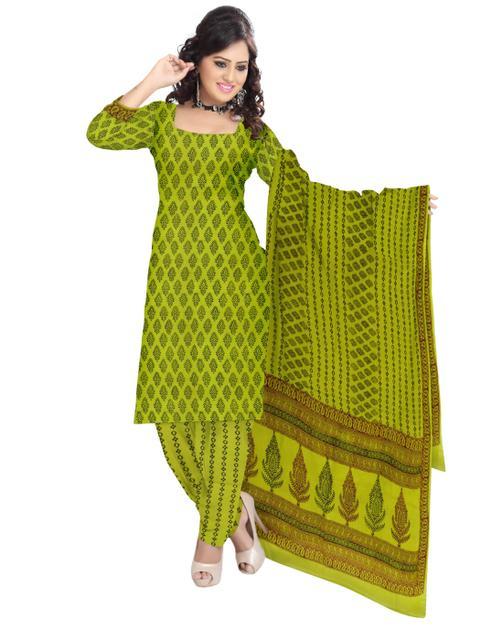 Unstitched Cotton Bagh Print Salwar Suit-Mehendi Green