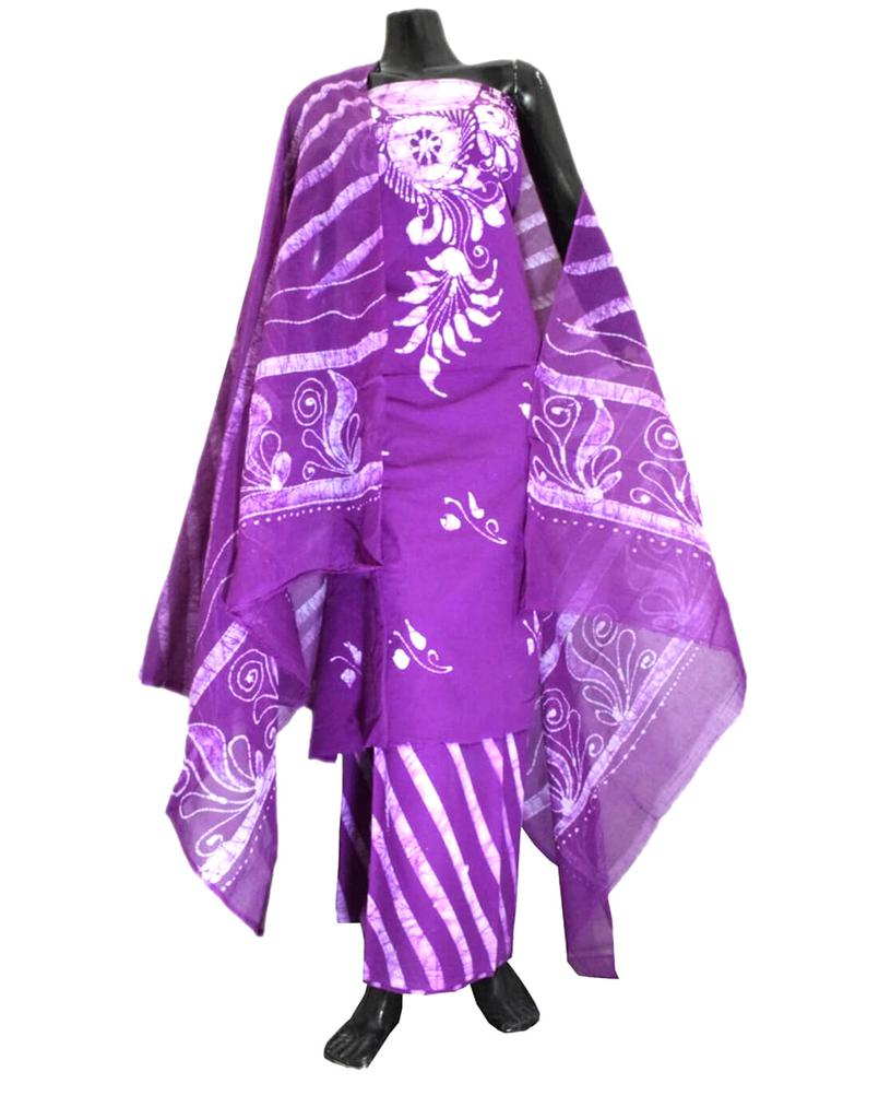 Cotton Batik Print Salwar Suit-Dark Purple