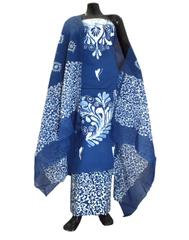 Cotton Batik Print Salwar Suit-Indigo Blue