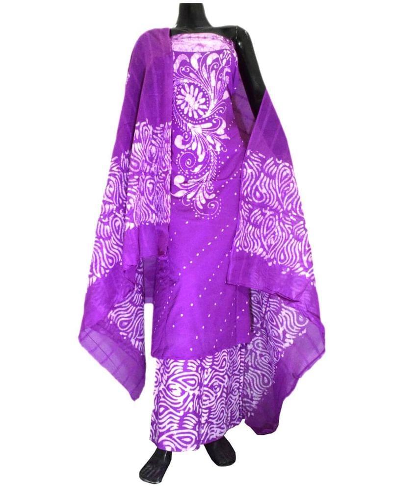 Cotton Batik Print Salwar Suit-Purple