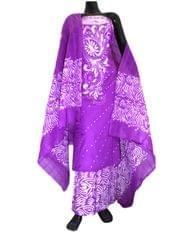 Cotton Batik Print Salwar Suit-Purple