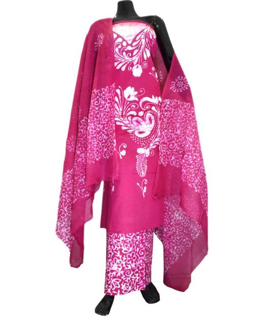 Cotton Batik Print Salwar Suit-Deep Pink