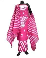 Cotton Batik Print Salwar Suit-Pink