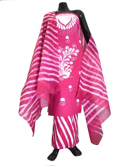 Cotton Batik Print Salwar Suit-Pink