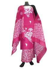 Cotton Batik Print Salwar Suit-Pink&White 1