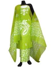Cotton Batik Print Salwar Suit-Green&White