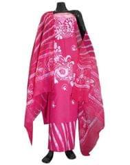 Cotton Batik Print Salwar Suit-Pink&White