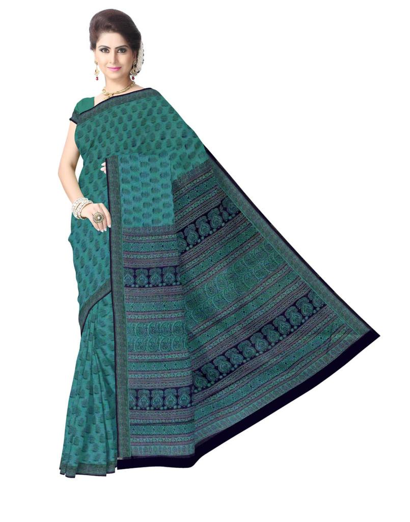Bagh Print Cotton Saree-Greenish Blue