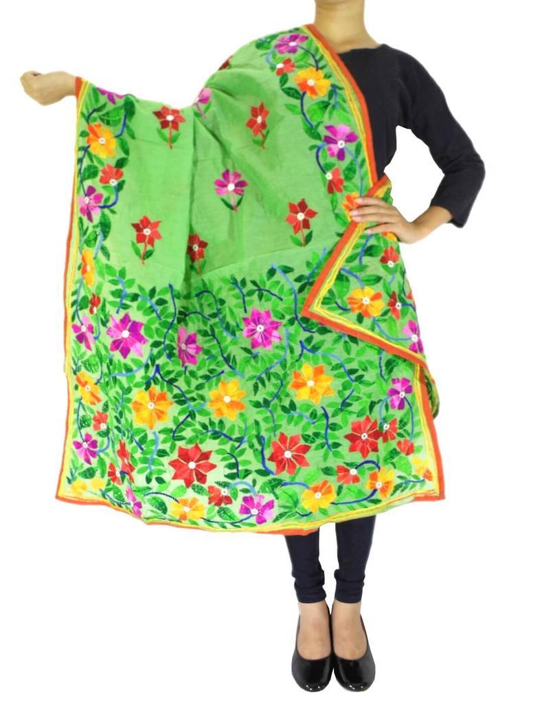 Chanderi Hand Embroidered Dupatta-Green