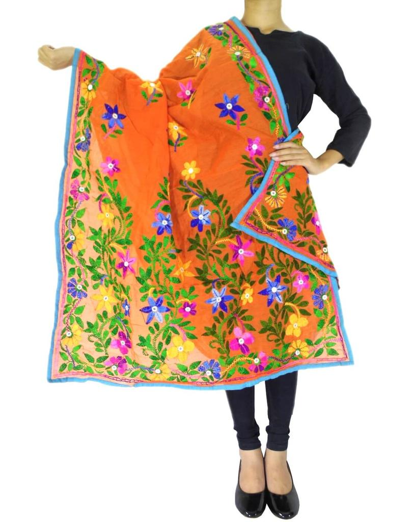 Chanderi Hand Embroidered Dupatta-Orange 2