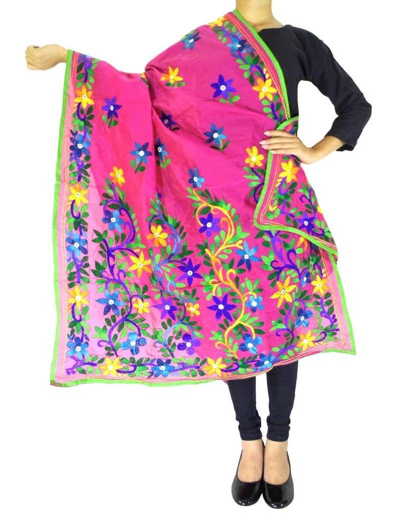Chanderi Hand Embroidered Dupatta-Pink