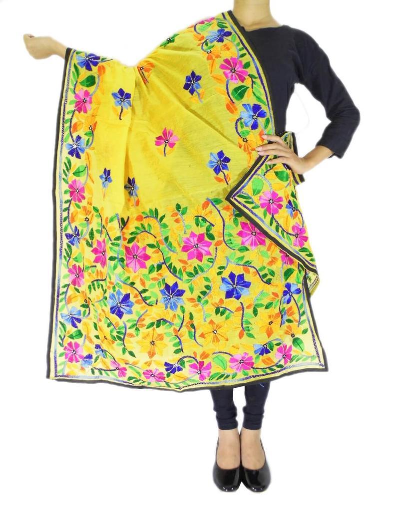 Chanderi Hand Embroidered Dupatta-Yellow