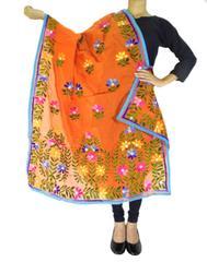 Chanderi Hand Embroidered Dupatta-Orange 1