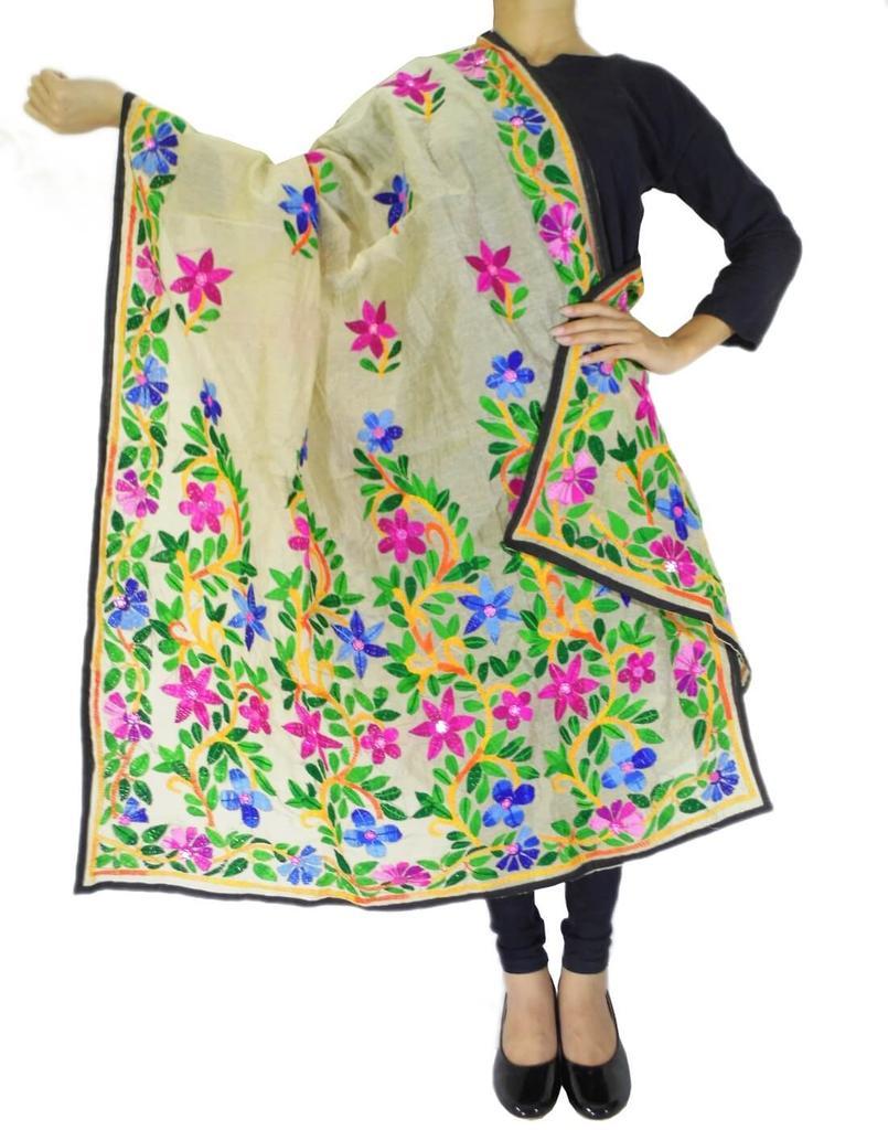 Chanderi Hand Embroidered Dupatta-Beige 1