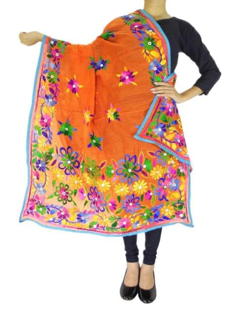 Chanderi Hand Embroidered Dupatta-Orange
