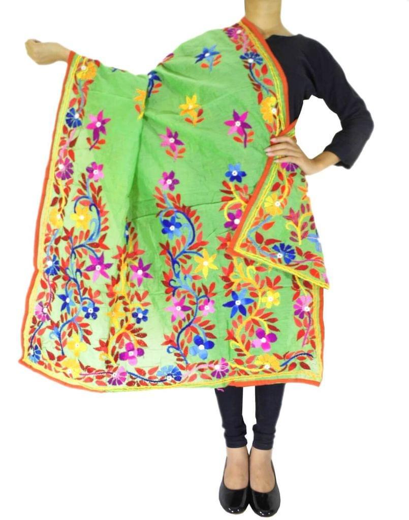 Chanderi Hand Embroidered Dupatta-Green 1